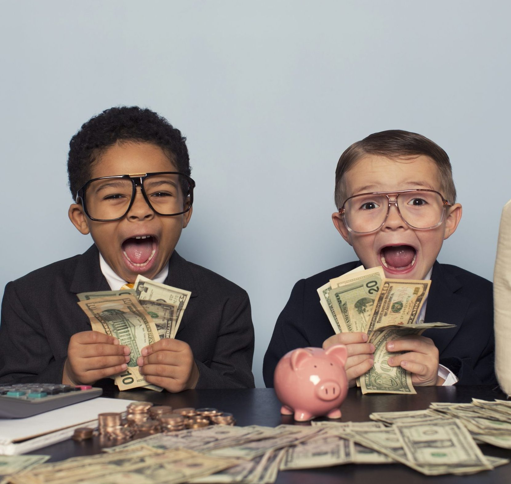 Children with Money Photo
